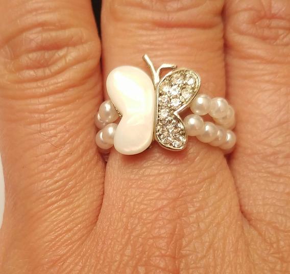 Anillo Mariposa Perlas Blanco Unitalla Extendible Fantasía