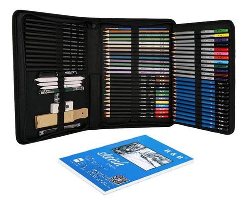 Imagem 1 de 7 de Estojo Com Kit De Lápis De Desenho H&b Profissional 71 Pcs