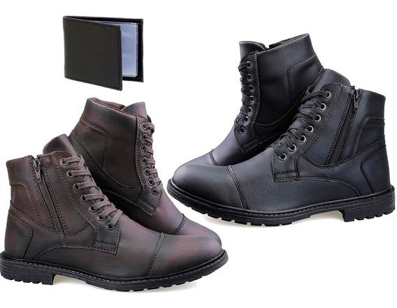 2 Botas Masculina Sapato Coturno Casual Super Leve Ziper Kr