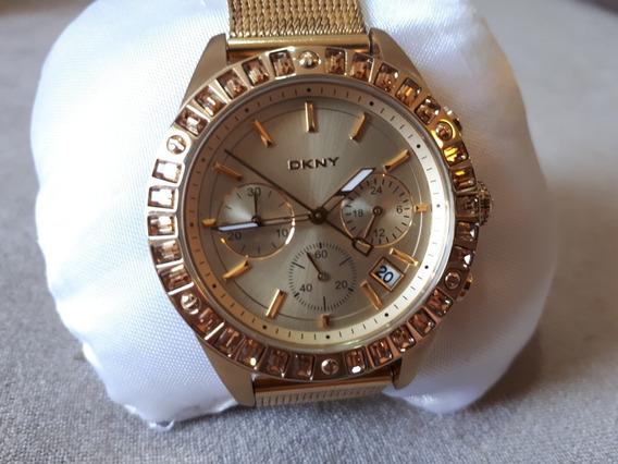 Relógio Original Donna Karan Dourado Ouro Dkny Com Brilhante