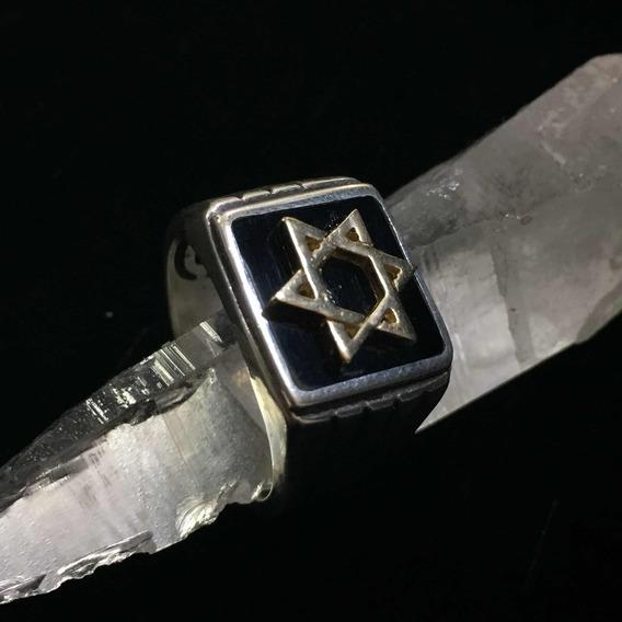 Anel Hexagrama Estrela De Davi Hexagrama 6 Pontas Com Ouro