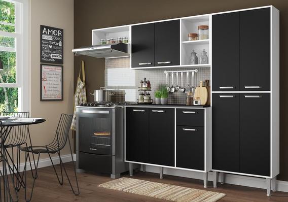Cozinha Compacta Xangai 9 Portas Multimóveis Branco/preto