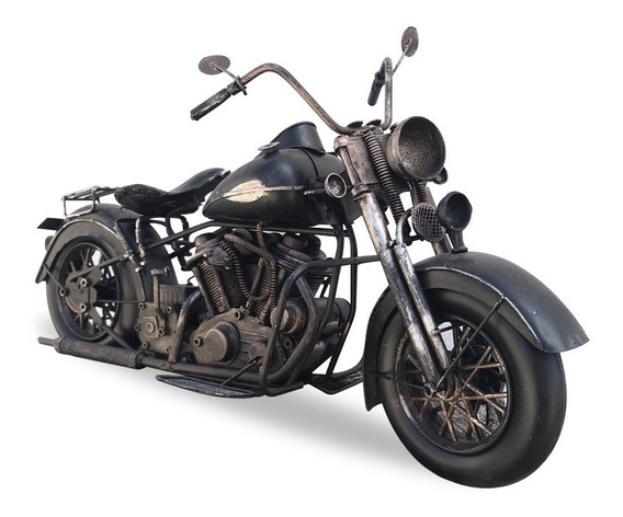 Moto Chopera Negra Harley Miniatura Coleccionable Coleccion