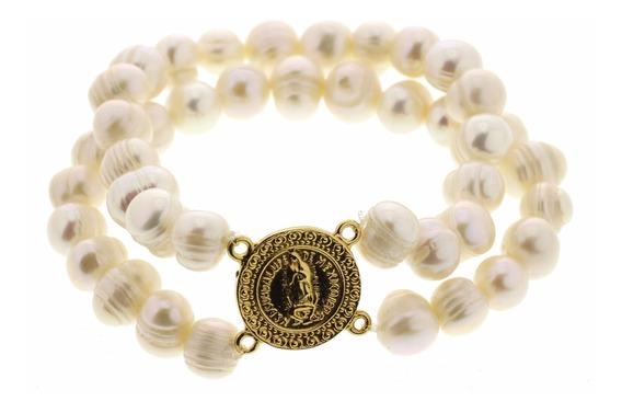 Joyeria Goretti, Pulsera Doble Perlas Con Virgen Guadalupe