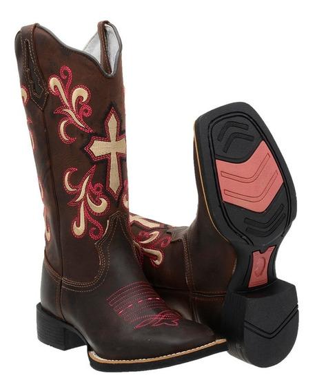 Bota Feminina Country Texana Rodeio Couro Legitimo Confort
