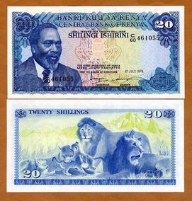 Quênia 20 Shillings 1978 P. 17 Fe Cédula - Tchequito