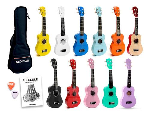 Imagen 1 de 10 de Ukelele Soprano Midiplus Madera Varios Colores + Funda Promo