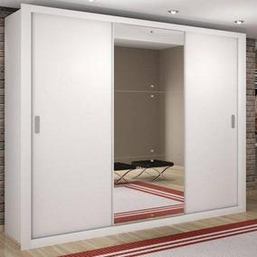 Guarda Roupa Casal Com Espelho 3 Portas De Correr Luna Rufat
