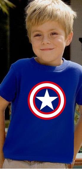Camiseta Infantil Escudo Capitão América Marvel 1 A 12 Anos