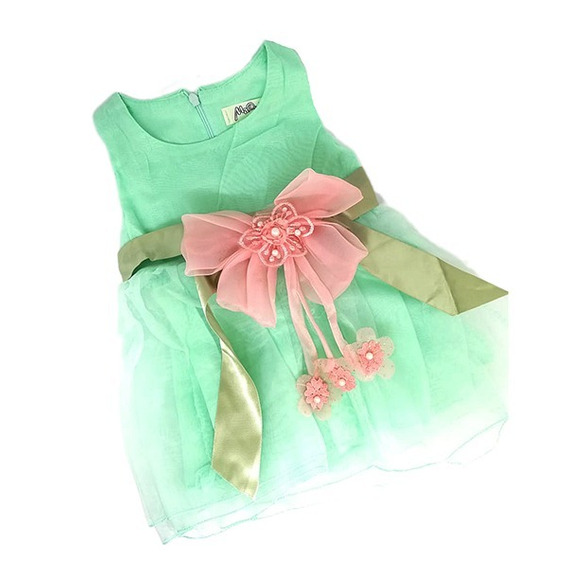 Vestido Verde Con Moño Rosa