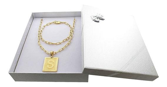 Corrente Banhada Ouro 18kc/garantia + Pulseira + Letra + Box