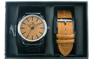Reloj Stone Urbano Correa Cuero Mas Correa De Metal Set Box