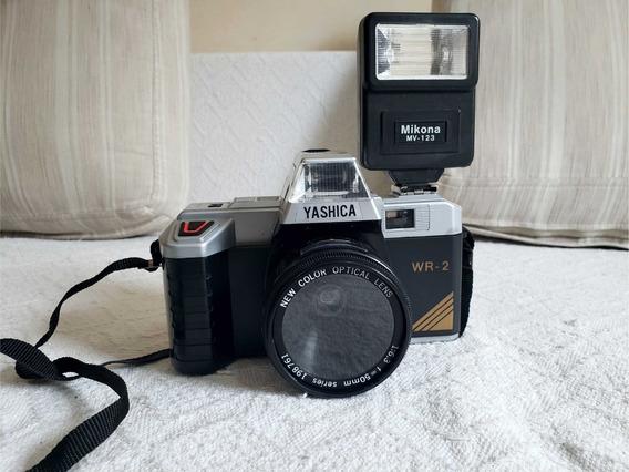 Câmera Fotográfica Yashica Wr-2 + Flash Mikona Mv-123 Leia