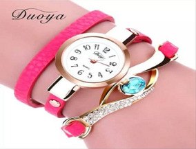 Relógio Pulseira De Couro, Com Pedra Vintage Feminino Barato
