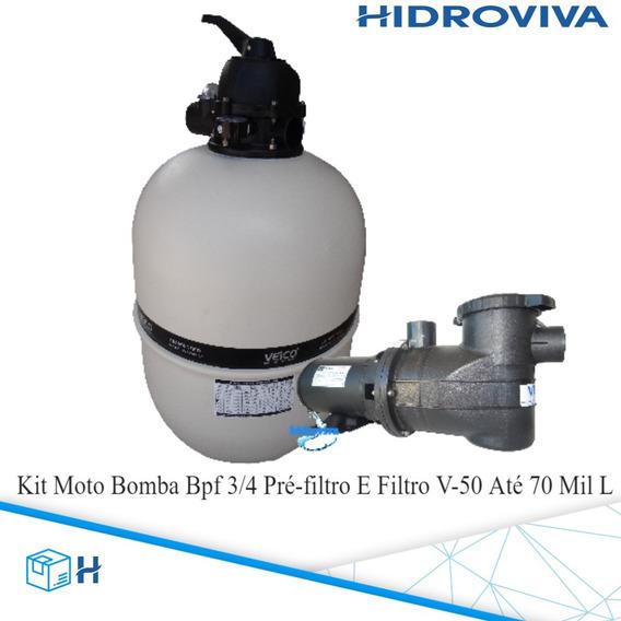 Kit Moto Bomba Bpf 3/4 Pré-filtro E Filtro V-50 Até 70 Mil L