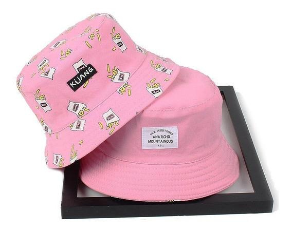 Boné Chapéu Bucket Rosa Dupla Face Batata Frita Nova Moda