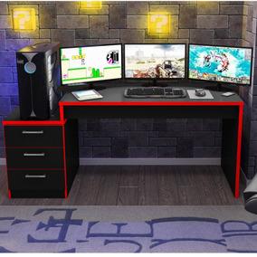 Mesa Para Computador Desk Game Drx 6000 Preto/vermelho Cewt