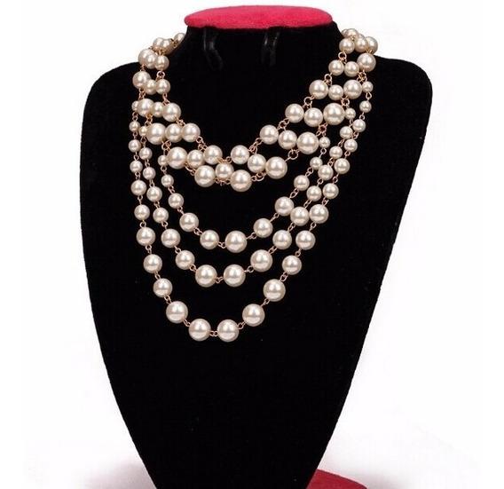 Set Collar Y Aretes De Perlas Elegante Dorado Y Plata