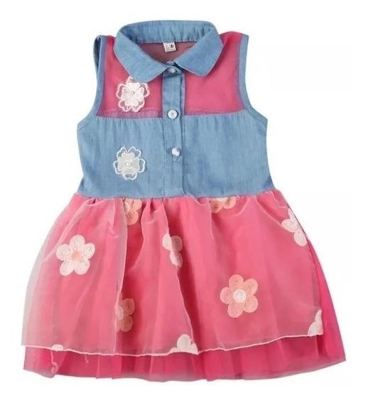 Vestido Infantil Jeans Brim Personagem Floral Bordô