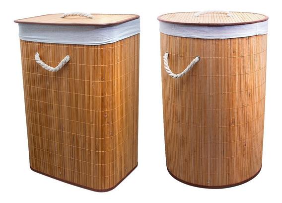 Cesto De Ropa Plegable Bambu Cestos Organizador + Tapa