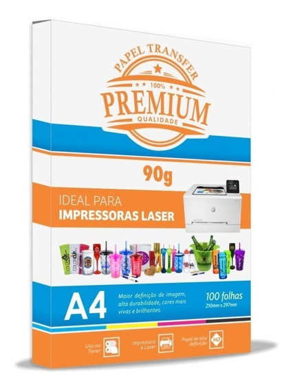 Papel Transfer Laser Premium A4 90g 100fls