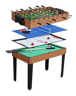 Mesa De Juego 4 En 1 Fulbito Billar Hockey Ping Pong