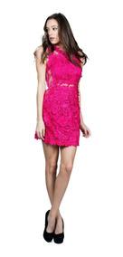 Vestido De Coctel Ark & Co. Con Encaje En Rosa