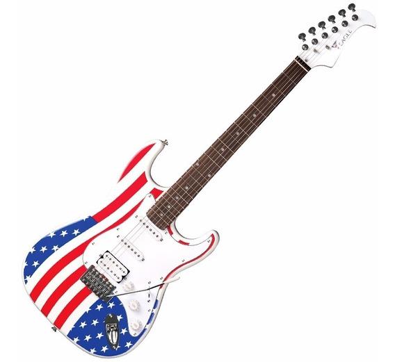Guitarra Bandeira Usa Eua Stratocaster Eagle Cap Wilkinson