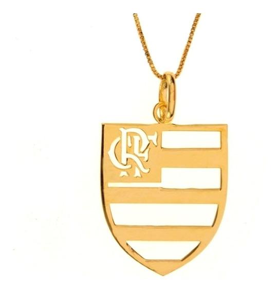 Pingente Time Do Flamengo De Ouro 18k Escudo Crf
