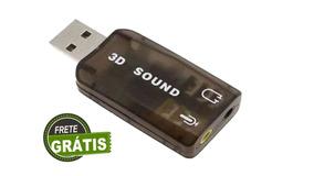 Adaptador Placa De Som Saida De Audio Usb Computador 3d 5.1