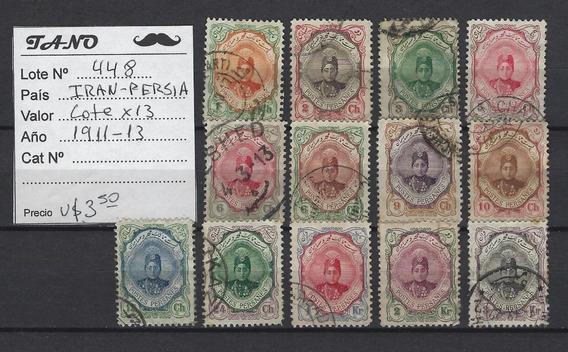 Lote448 Iran Persia 13 Estampillas Años 1911 - 1913