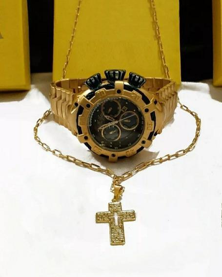Relógio De Pulso Masculino Dourado +cordão+ Pingente Ouro