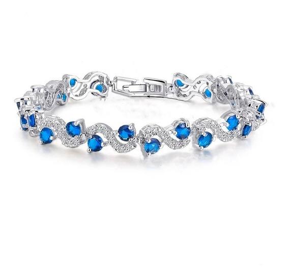 Pulseira Cristais Azul Royal Banho Prata Esterlina Feminino