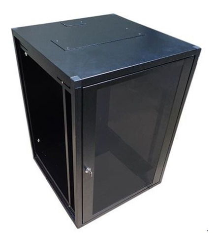 Imagem 1 de 1 de Mini Rack De Parede 16u X 470mm Preto Texturizado 9011 - Lan