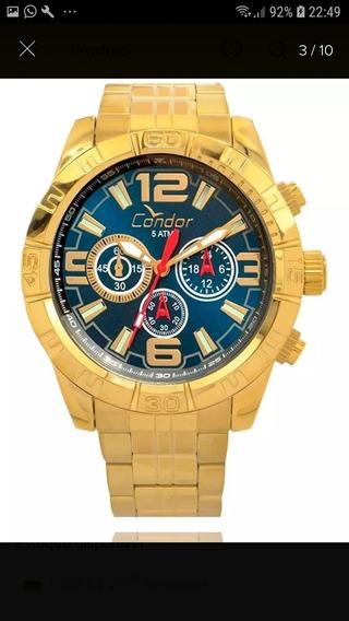Relógio Masculino Dourado Condor Ouro 18k .