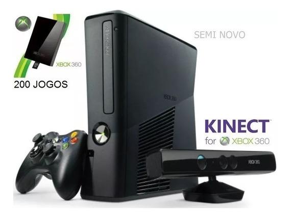 Xbox 360 Slim + Hd 320gb + Kinect + 2 Controles + 200 Jogos