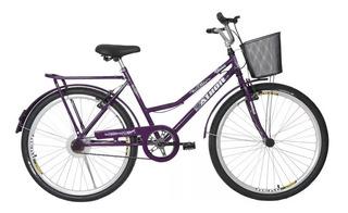Bicicleta Athor Aro 26 Venus Freio V-brake Com Cestão Violeta Bike Aro 26 Feminina Violeta Com Bagageiro Cod.83722