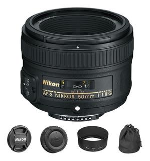 Lente Nikon Af-s Nikkor 50mm F/1.8g + Funda + Parasol Nuevo!