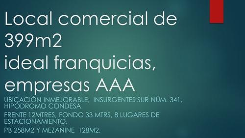 Imagen 1 de 6 de Local Comercial Aaa 399m2 Insurgentes Sur, Col Hipodromo Con