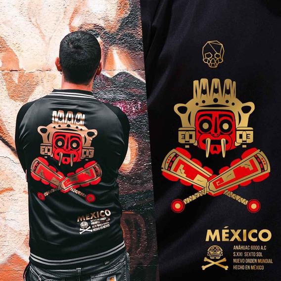 Chamarra Bomber Jacket, Diseño Mexicano Azteca Dios Tlaloc