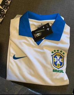 Camisa Seleção Brasil Branca - Personalização Grátis