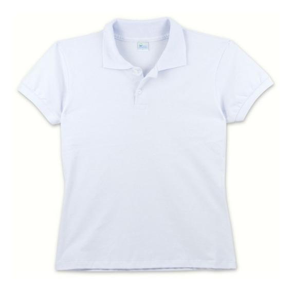Camisa Polo Feminina Básica Malha Piquet Branca Ou Preta