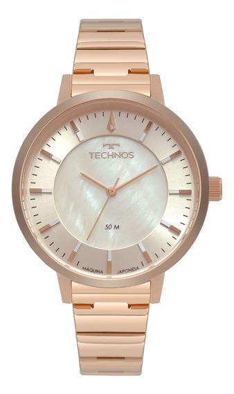 Relógio Feminino Technos Rosé Redondo - 2033cr/4b Com Nf