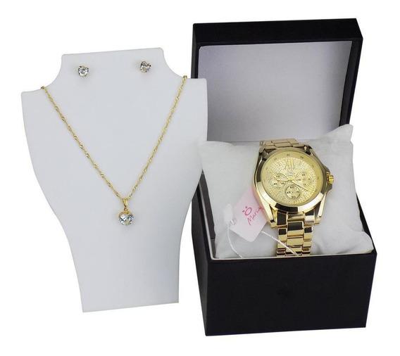 Relógio Orizom Maria Aço + Colar E Brinco + Caixa