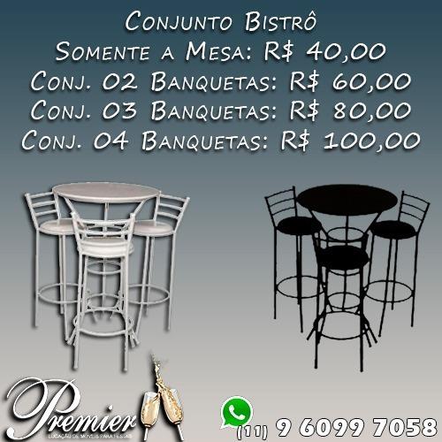 Imagem 1 de 10 de Locação Aluguel Mesa Bistrô Banquetas Conjunto Bistrô Puffs