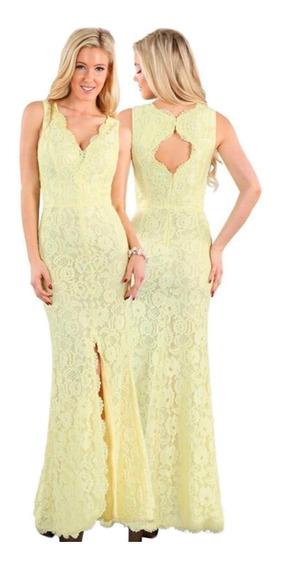 Vestido Largo De Noche Amarillo, Escote V, Escote Espalda.