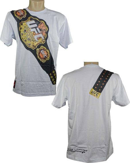 Camiseta Masculina Homem Camisa Powered Mma Ufc Luta Cinturao Belt Branco Ou Preto