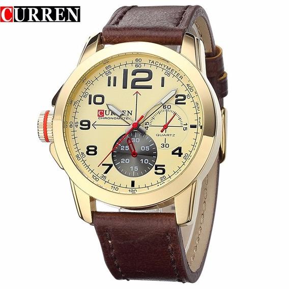 Relógio Curren Barato Quartz Masculino Luxo Pulseira Couro
