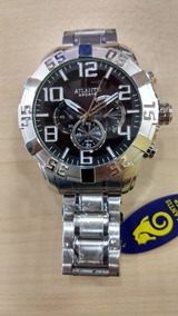 Relógio Atlantis Prata Masculino Original Frete Gratis