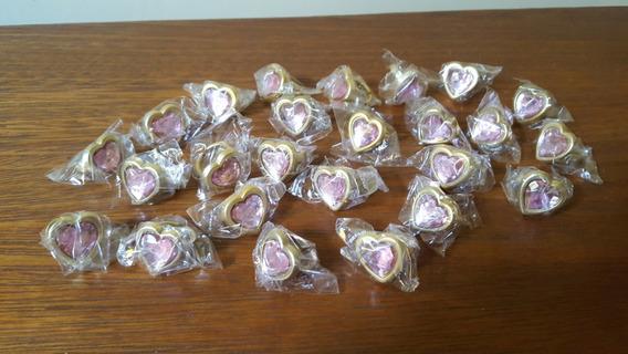 Lote 25 Anéis Princesa Criança Formato Coração Rosa Aro 11